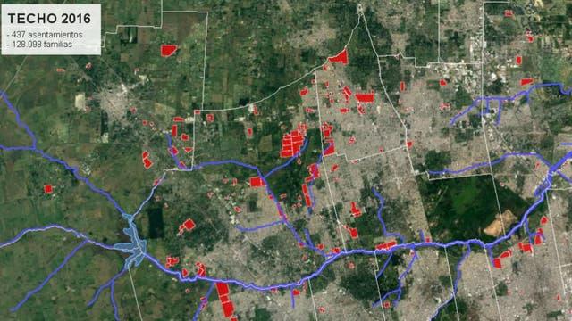 El mapa de los asentamientos durante 2016