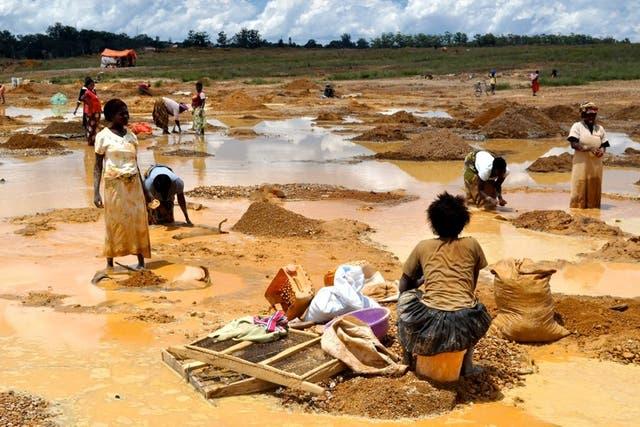 Lavado de cobre en una mina africana