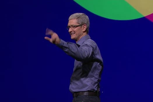 Tim Cook, CEO de Apple, en la apertura de la conferencia de Apple.