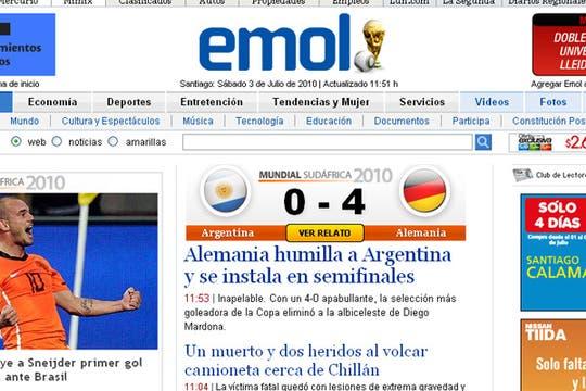 La derrota argentina, en los medios extranjeros. Foto: El Mercurio (Chile)