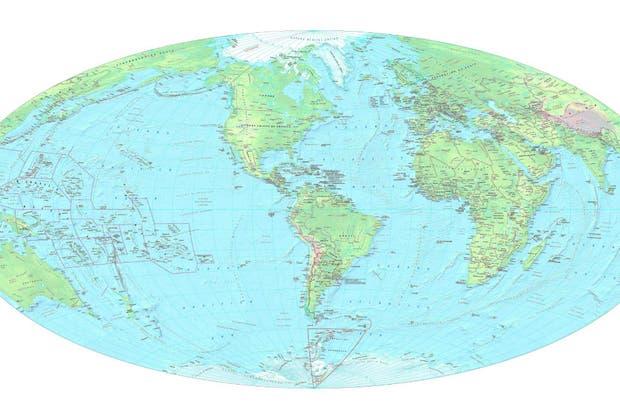 El mapamundi que presentó Agustín Rossi tiene a la Argentina en el centro