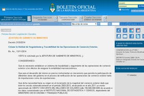 El decreto de creación de la Unidad de Seguimiento y Trazabilidad del Comercio Exterior fue publicada en el Boletín Oficial