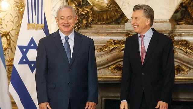 Mauricio Macri recibió a Benjamín Netanyahu en la Casa Rosada. Foto: LA NACION / Silvana Colombo