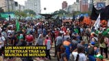 Así se retiran los manifestantes de la marcha de Moyano