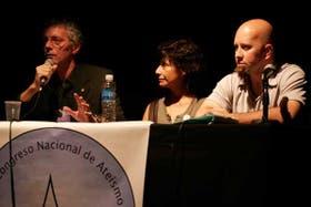 Alejandro Borgo, Cristina Ferreyra y Fernando Lozada, durante la apertura del encuentro, el viernes último