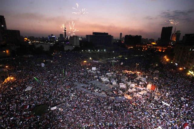 La plaza central de El Cairo, Tahrir, es el centro de las protestas en Egipto
