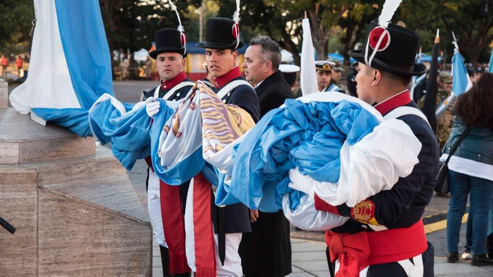 """""""Juntos es como vamos a lograr ese país grande y pujante que Belgrano soñó. Esa Argentina es la que estamos construyendo"""" culminó el Presidente. Foto: LA NACION / Marcelo Manera"""