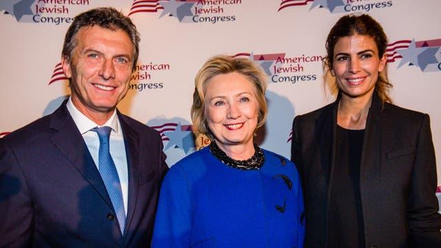 Hillary Clinton junto a Mauricio Macri y Juliana Awada, en 2014