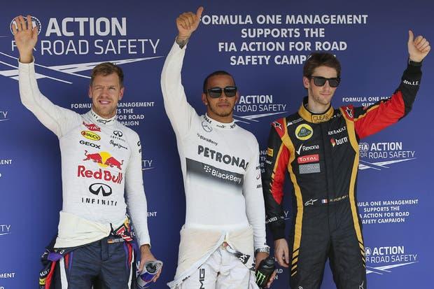 Hamilton, Vettel y Grosjean tras dominar la clasificación en Budapest.jpg
