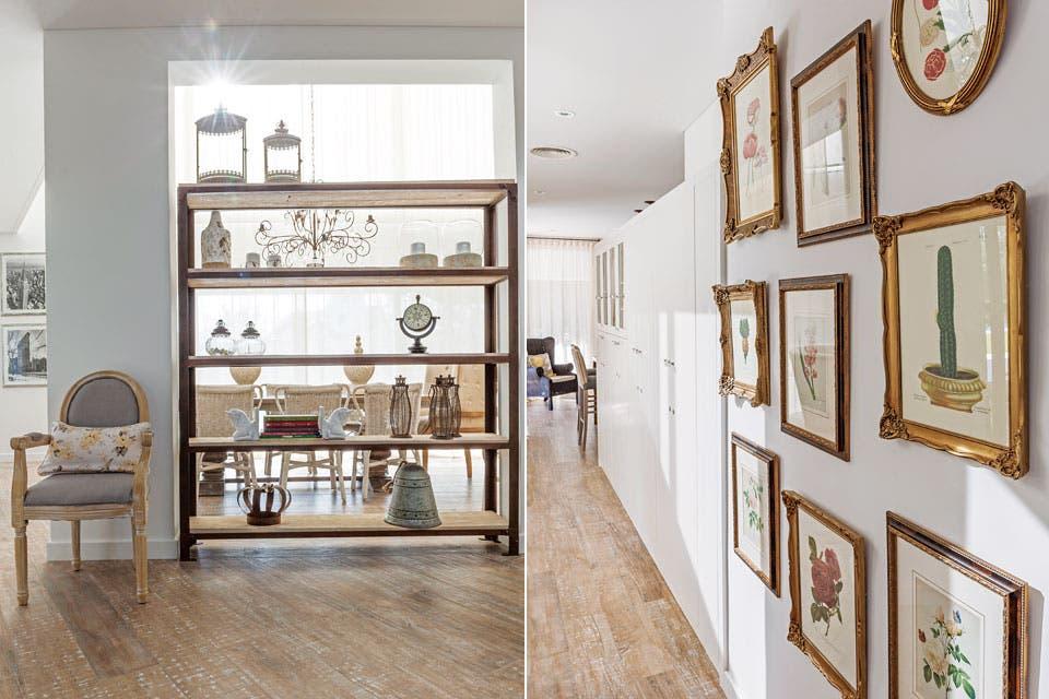 La biblioteca, de madera y hierro ($41.200, todo de Agustina Cerato), separa visualmente y da privacidad a un espacio que antes quedaba demasiado unido a la puerta de entrada.  Foto:Living /Javier Csecs