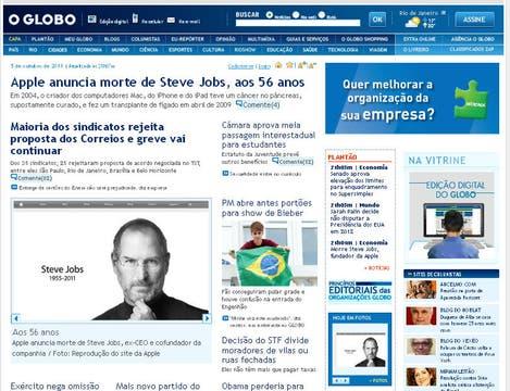 El portal del diario Oglobo, de Brasil.