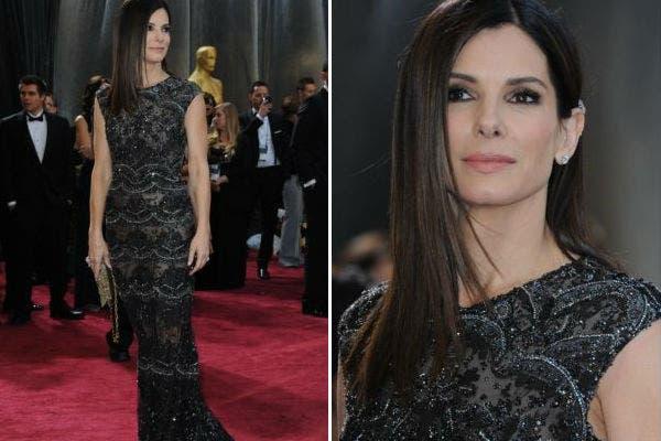 Sandra Bullock, discreta pero glamorosa con una creación de Elie Saab, con transparencias y brillos y un peinado bien prolijo. Foto: AFP