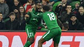 Festejo del tercer gol de Nigeria