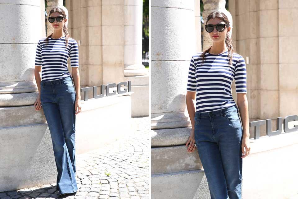 Paloma Cepeda con estilo navy: remera a rayas en blanco y azul y pantalones Oxford. Foto: OHLALÁ! /Gentileza prensa