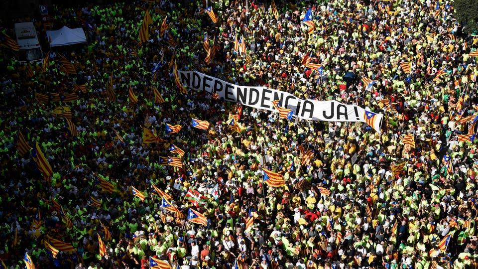 La impactante manifestación de la Diada, el Día Nacional de Cataluña. Foto: AFP