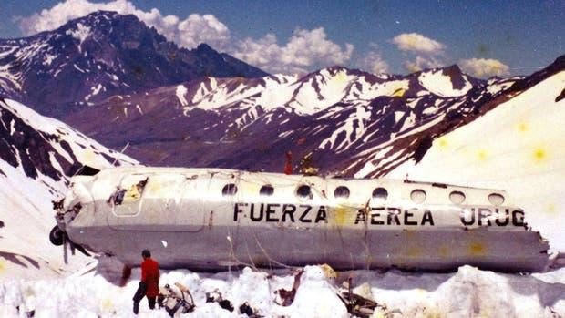 El fuselaje del avión en la Cordillera de los Andes, en enero de 1973