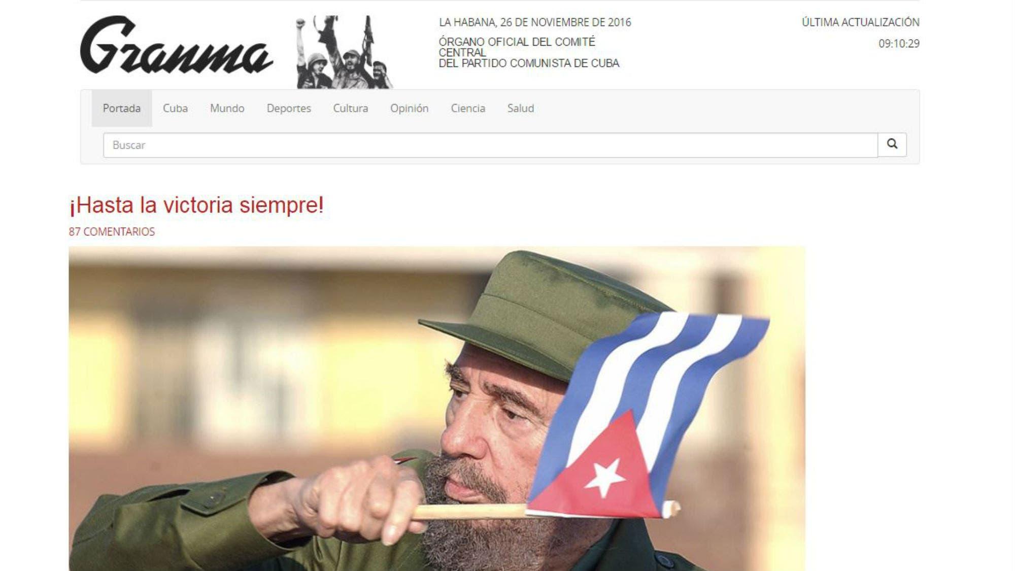 Murió Fidel Castro: la tapa del emblemático diario Granma