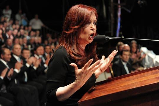 Cristina, en pleno discurso por el Día de la Bandera, en Rosario.