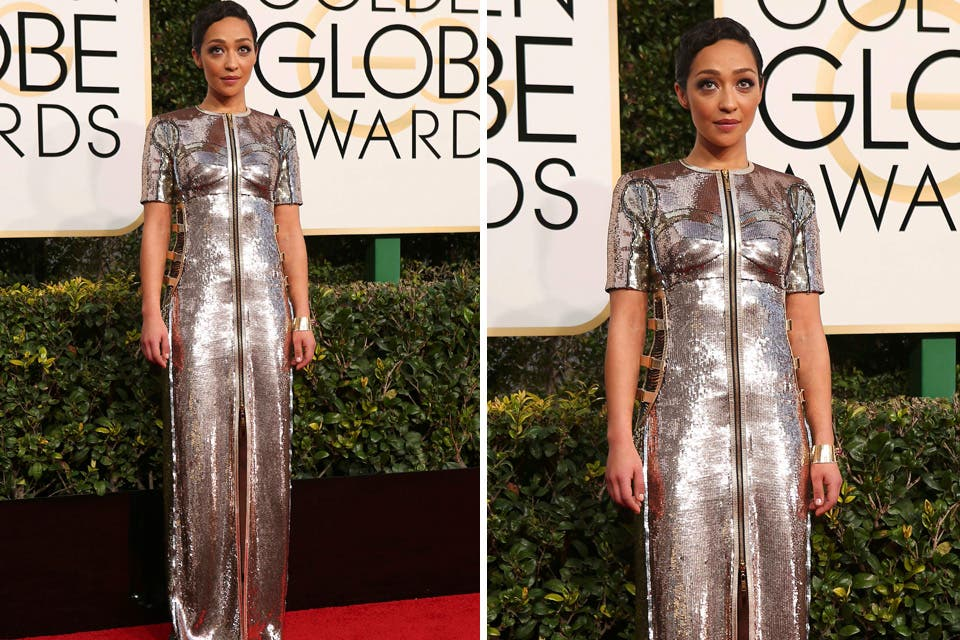 Otra de las más elogiadas de los Globos de Oro: Ruth Negga y un vestido firmado por Louis Vuitton. Foto: OHLALÁ! /Reuters, AFP