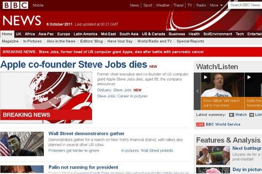 El portal de la cadena BBC News.