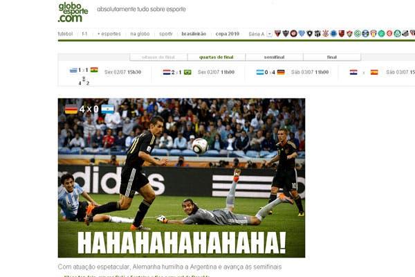 La derrota argentina, en los medios extranjeros.  /O Globo (Brasil)