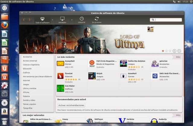 La tienda de software de Ubuntu. A la izquierda, la barra de accesos con el botón de Amazon