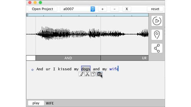 La interfaz de VoCo, con el audio original y la posibilidad de editar cada palabra