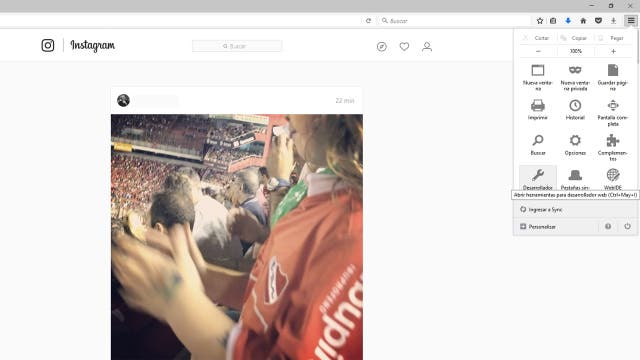 Firefox también permite activar un modo que permite ver la versión móvil de Instagram
