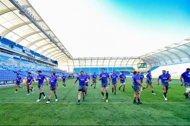 Los Pumas durante el reconocimiento del estadio de Gold Coast, donde chocarán con los Wallabies