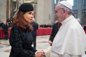 Cristina Kirchner, la semana pasada, en la asunción del Papa