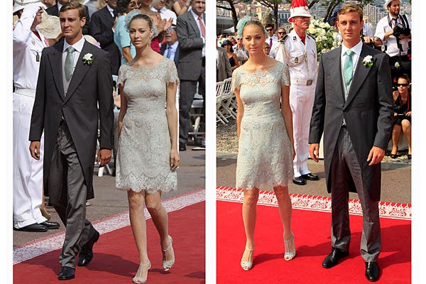 Pierre Casiraghi estuvo acompañado por su novia, la condesa Beatrice Borromeo, que eligió un vestido de encaje color celeste grisáceo. Foto: Reuters/AP/AFP/EFE