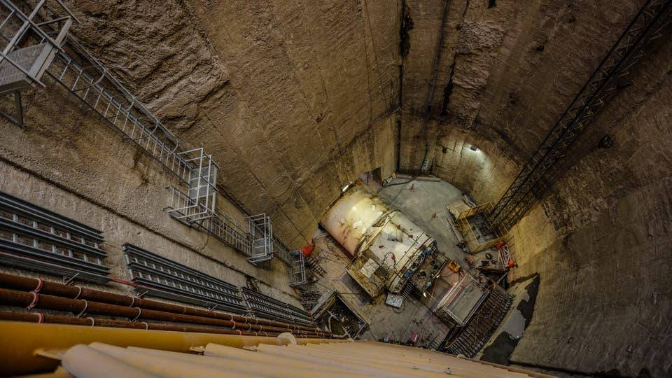 En el fondo de un pozo de 42 metros, la tunelera pronto comenzará a trabajar. Foto: LA NACION / Hernán Zenteno