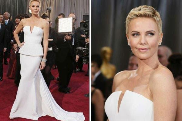 Blanco total para Charlize Theron y su look siempre sexy en un impecable modelo de Dior. Foto: Reuters