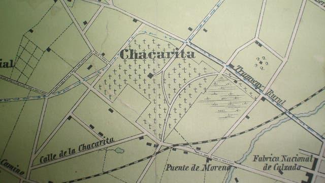 Mapa de Chacarita en la época en que se proyectó el cementerio.