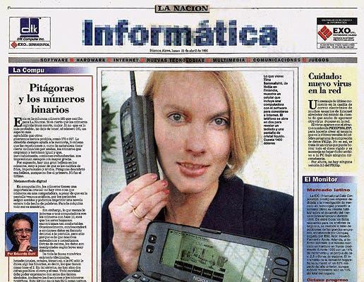 La tapa del primer suplemento Informática de LA NACION, del 22 de abril de 1996