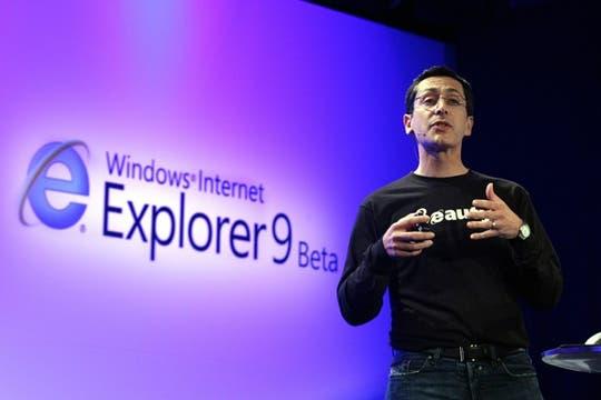 Dean Hachamovitch, vicepresidente corporativo de Microsoft, en el anuncio del Internet Explorer 9 Beta. Foto: EFE