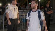 Messi al dejar el hotel