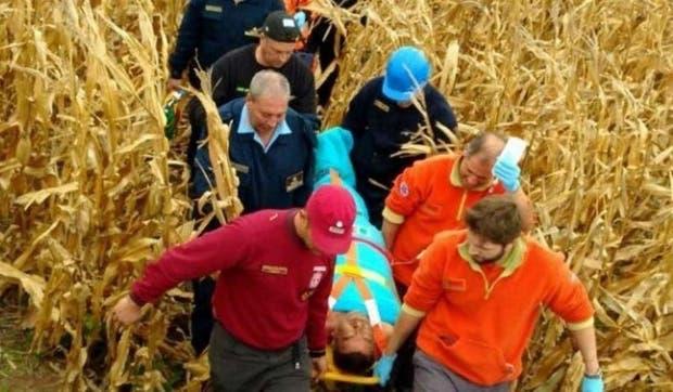 Bernardino Aliaga al ser rescatado el martes pasado