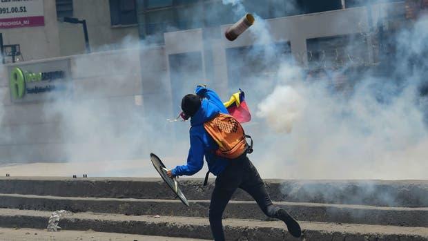 Un herido en la marcha de Caracas