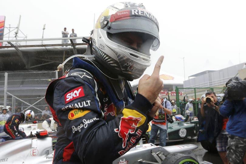 El festejo de Vettel. Foto: Reuters