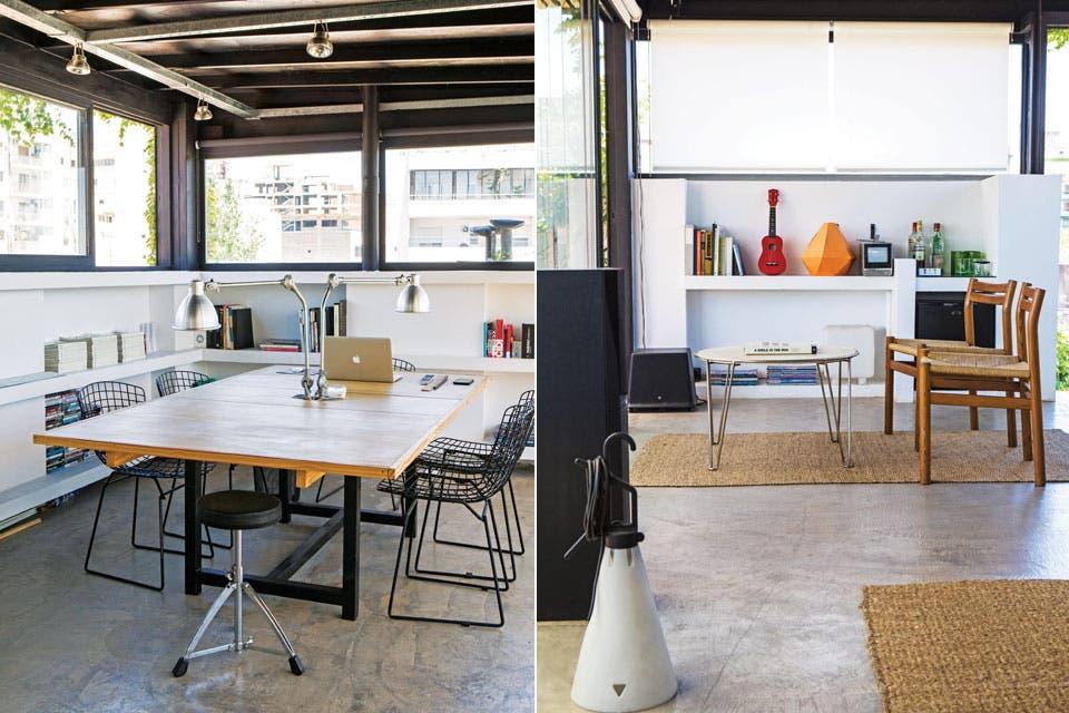 El espacio se dividió en tres sectores bien definidos. Primero, el escritorio, con una amplia mesa con tapa de madera y sillas 'Bertoia'. Al otro, una mesa ratona angosta combinada con mesitas de arrime redondas en hierro negro y dos sillones originales diseñados por Hannah & Mor.  Foto:Living /Santiago Ciuffo