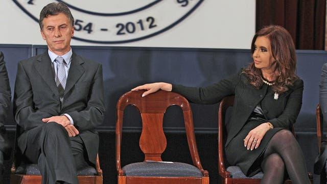 Macri y Cristina Kirchner, en la Bolsa de Comercio