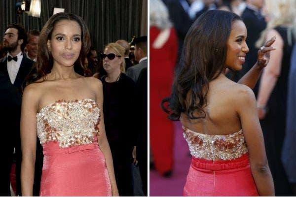 otro de los vestidos rojos que causó sensación, la creación de Miu Miu para Kerry Washington, con un strapless con piedras. Foto: Reuters