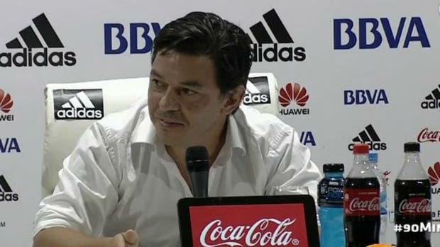 Gallardo, durante la conferencia de prensa que brindó en el Monumental