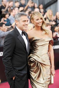 George Clooney  y su novia Stacy Kiebler. Foto: AFP