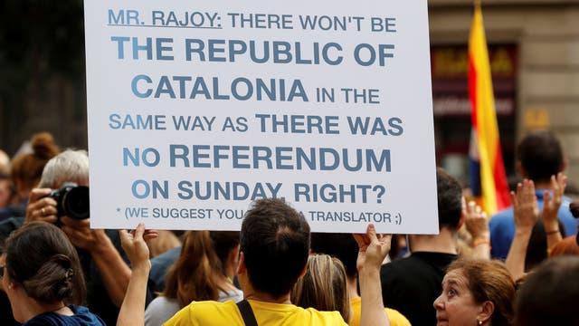 Rajoy también estuvo presente en los carteles de la marcha. Foto: Reuters / Yves Herman