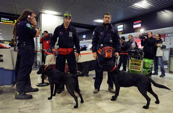 Bomberos españoles con perros de rescate, aguardan  en el aeropuerto de Barajas el vuelo que los llevará a Haiti.. Foto: AP