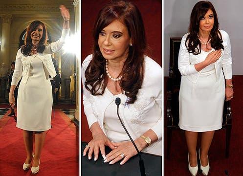 El blanco es el color que usa para ocasiones muy importantes. Para su discurso, lo llevó en un vestido de corte clásico y sencillo, con un cardigan corto con bordado de perlas. Foto: LA NACION y agencias