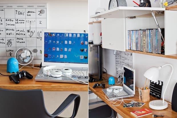 En el sector del escritorio, pizarra de director, portalápices 'Sacapuntas' ($230, Kabinett), lámpara de mesa 'Uncuerno' (a3) y sillas 'Jim' que la dueña compró a través de Mercado Libre.  /Magalí Saberian