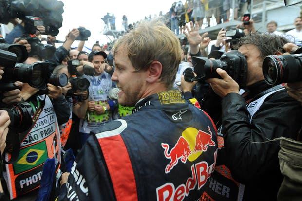 El festejo de Vettel.  Foto:EFE